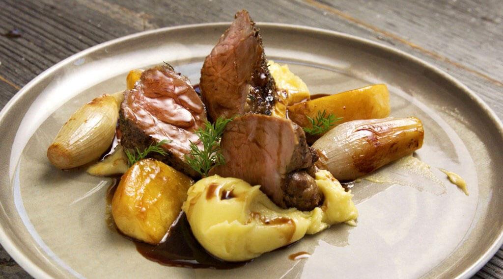Lamb Rib Eye nicely presented on a dish