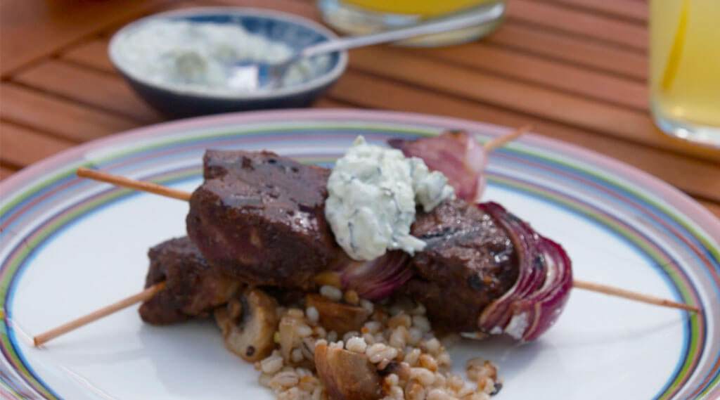grilled Indian Lamb Skewers served on a dish